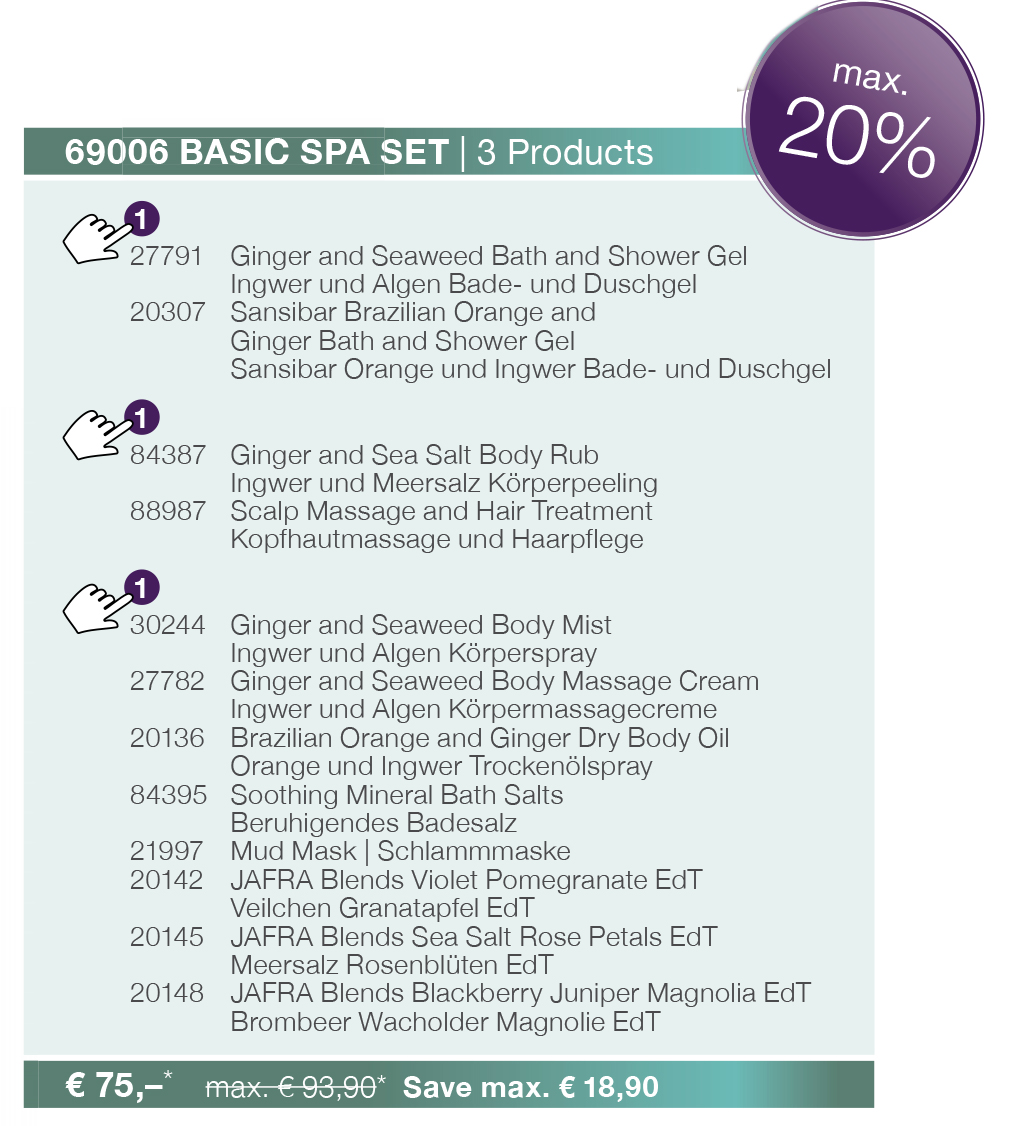 Prolinekosmetik Jafra Basic Spa Set Kosmetik Krperpflege Ginger And Sea Salt Body Rub 69006